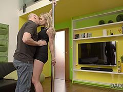 DADDY4K. Comely cutie delights in unexpected act of love with her man's egghead padre Mature XXX