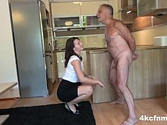Urinated curvaceous woman and daughter ballbusting old perv