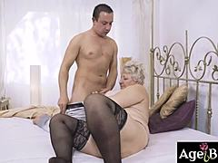 Lusty foster mama astrid surprise rob with a exquisite meal and her vintage muff
